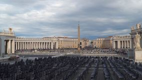 St. Peter`s Square. Is a large plaza located directly in front of St. Peter`s Basilica in the Vatican City stock footage