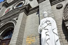 St. Peter`s statue in front of the church. The Catholic church built by a French Missionary since 1901 in Baoding City, Hebei Province, China Royalty Free Stock Images