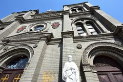 St. Peter`s statue in front of the church. The Catholic church built by a French Missionary since 1901 in Baoding City, Hebei Province, China Royalty Free Stock Photos