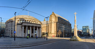 St Peter Square Manchester England UK. Exterior view of the curved building of the central library of Manchester in UK with people walking on the St Peters Stock Photography