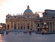 St. Peter square and pope's apartment. St. Peter square, church and pope's residence Royalty Free Stock Photo