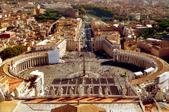 St. Peter Square from roof of St. Peter`s Basilica Stock Photo