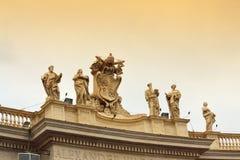St. Peter square saints statues Vatican Stock Image