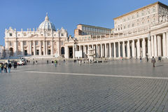 St.Peter Square and St Peter Basilica in Vatican Stock Image