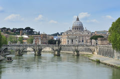 St Peter and Tiber. St Peter's Basilica & the Tiber River Rome Italy royalty free stock image