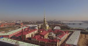 St Peter und Paul Fortress, St- Petersburgfrühling sonnig stock video footage