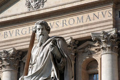 St. Peter, Vatican City. This imposing statue of St. Peter stands outside of the Basilica in Vatican City. It is a symbol of strength and leadership for many stock images
