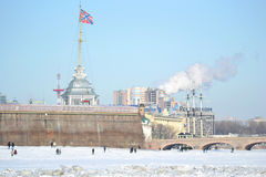 Peter and Paul Fortress and the frozen river Neva Stock Image