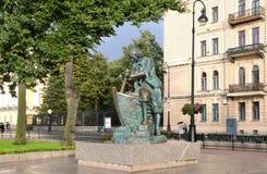 ST. PETERBURG, RUSSIA, SEPTEMBER, 08, 2012. Monument Tsar-carpenter to Peter the 1th on the Admiralteyskaya  embankmen Royalty Free Stock Images
