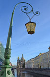 ST. PETERBURG, RUSSIA, SEPTEMBER, 10, 2012. Russian scene: nobody, the lantern on the bridge over the Griboedov channel Royalty Free Stock Image