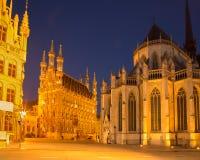 Лёвен - готические ратуша и собор St Peters в вечере стоковая фотография rf