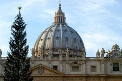 St Peters Basilica At Christmas Foto de Stock Royalty Free