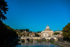 St Peters basilica and river Tibra in Rome, Italy Royalty Free Stock Photos