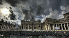 St. Peters Basilica Rome. HDR Timelapse of St. Peter's Square at the Vatican in Rome stock video footage