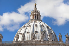 St. Peters Basilica. Scenic view of St. Peters Basilica, Basilica di San Pietro, with blue sky and cloudscape background, Vatican city, Rome, Italy royalty free stock images