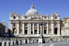 St. Peters Basilica on the St. Peters Square in Rome Royalty Free Stock Photos