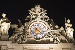 St. Peters Basilica, Vatican City detail at night Stock Photos
