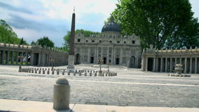 St. Peters Cathedral in Vatican City. Model of the most renowned work of Renaissance St. Peter's Basilica in Vatican City placed in Minimundus in Klagenfurt stock footage