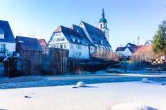 St Peters Church, Weilheim/Teck en hiver Photographie stock