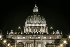 St. Peters Dome Basilica in Rome, Italy. Papal seat. Vatican City. St. Peters Basilica in Rome, Italy. Papal seat. Vatican City. Night scene. The dome is the stock image