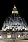 St. Peters Dome / Night. St. Peters (Rome - Italy - Vatican City) Basilica at night / Evocative lights on the house of the Pope and Christians / St Peters Dome Royalty Free Stock Images