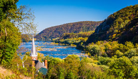St. Peters Roman Catholic Church and the Potomac River, seen fro Stock Image