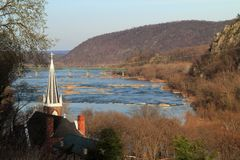 St Peters Roman Catholic Church in Harpers Ferry. St Peters Roman Catholic Church, seen here overlooking the junction of the Shenandoah and Potomac Rivers, is royalty free stock photos