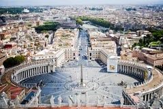St. Peters Square från Vaticanentillstånd, i Rome, in  fotografering för bildbyråer