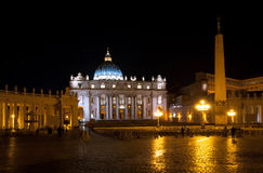 St. Peters square, Vatican Rome. Night view Stock Photography