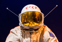 St Petersbourg, Russie - 13 mai 2017 : Combinaison spatiale russe d'astronaute dans le musée d'espace de St Petersbourg Images libres de droits