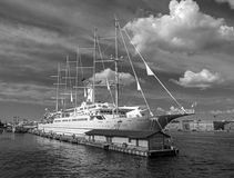 St. Petersbug, Russia - August 5, 2015: Cruise liner Wind Surf of Windstar Cruises Luxury Lines departs from the Neva Stock Image