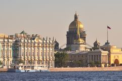 St. Petersburg. St. Isaac's Cathedral and the Admiralty building next to the Neva River in St. Petersburg Stock Image