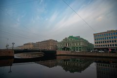 St. Petersburg, the Big Drama Theater, Fontanka River, bridge, sky royalty free stock image