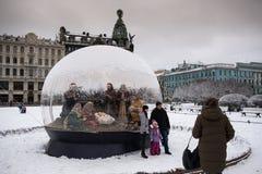 St Petersburg, Bożenarodzeniowa narodzenie jezusa scena Obrazy Stock