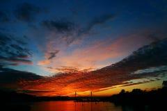 St Petersburg bridge. Pontoon bridge in St. Petersburg at sunset in autumn Royalty Free Stock Photos