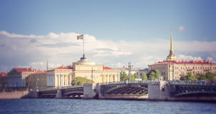 St. Petersburg, buildings of Admiralty on quay of river Neva Stock Photo