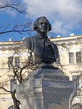 St. Petersburg. Bust of M.B. of Lomonosov (1711-1765). In square Royalty Free Stock Photography