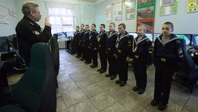 St. Petersburg Cadet Naval School. Cadets in the classroom royalty free stock photo