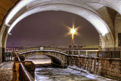 St Petersburg, canale di inverno Fotografie Stock