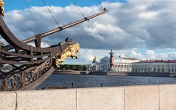St. Petersburg, Cape Vasilevsky Island and part of sailing ship Royalty Free Stock Images