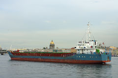 St. Petersburg, the cargo ship on the Neva river Stock Image