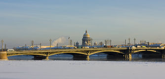 St. Petersburg, cathedral of St. Isaak and Palace bridge Royalty Free Stock Images