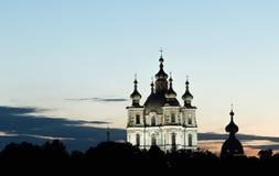 St Petersburg, cattedrale di Smolny nelle notti bianche Fotografia Stock Libera da Diritti