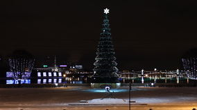 St. Petersburg, Christmas tree at night. Christmas tree at night, St. Petersburg, Russia stock footage