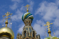 St.Petersburg, church, sky, cloud, cross. Dome of the temple in city Saint Petersburg Royalty Free Stock Image