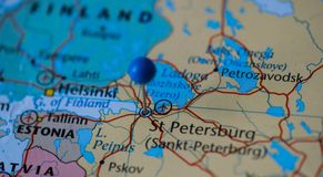St Petersburg city pinned on a map of Russia among other World cup 2018 venues Royalty Free Stock Image