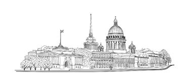 Saint-Petersburg city, Russia. St. Isaac`s cathedral skyline. Russian travel background. St. Petersburg city, Russia. Saint Isaac`s cathedral skyline with stock illustration