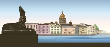 St. Petersburg city, Russia. Saint Isaac`s cathedral skyline wit. H Egyptian Sphinx monument landmark silhouette, Neva river view. Russian cityscape background Royalty Free Stock Images