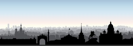 St. Petersburg city skyline, Russia. Tourist landmark silhouette Royalty Free Stock Photography
