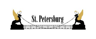 St. Petersburg city symbol, Russia. Winged lions bridge Russian Landmark icon. St. Petersburg city symbol, Russia. Bank bridge with winged lions Landmark Stock Photos